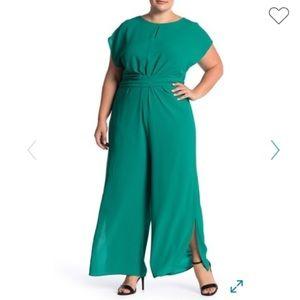 London Times Emerald Front Twist Crepe Jumpsuit